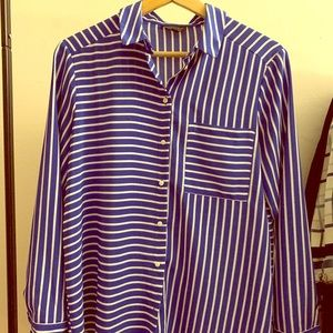 Topshop blue white stripe shirt